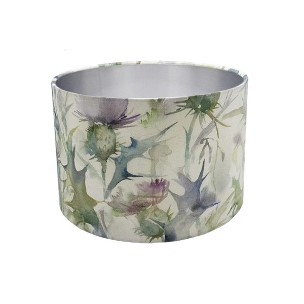 Voyage Cersiun Damson Thistle Floral Drum Lampshade Brushed Silver Inner