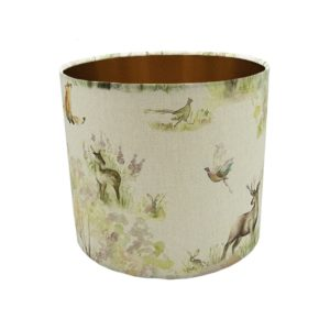 Enchanted Forest Drum Lampshade Brushed Copper Inner