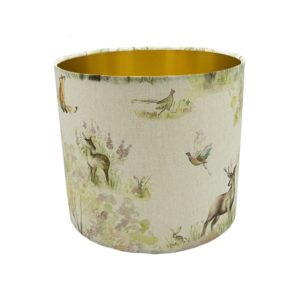 Enchanted Forest Drum Lampshade Brushed Gold Inner