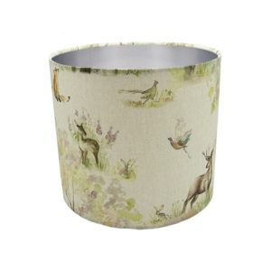 Enchanted Forest Drum Lampshade Brushed Silver Inner