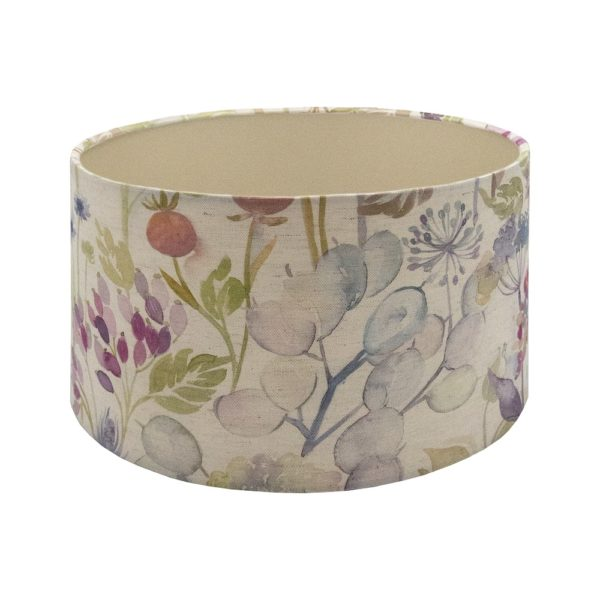 Voyage Hedgerow Pink Floral Drum Lampshade Champagne Inner