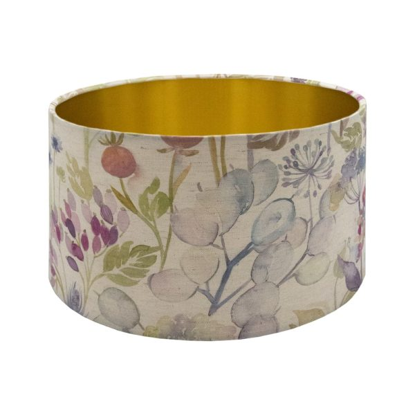 Voyage Hedgerow Pink Floral Drum Lampshade Brushed Gold Inner