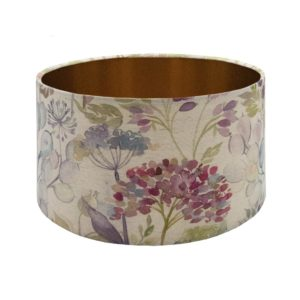Voyage Hedgerow Pink Floral Drum Lampshade Brushed Copper Inner