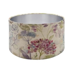 Voyage Hedgerow Pink Floral Drum Lampshade Brushed Silver Inner