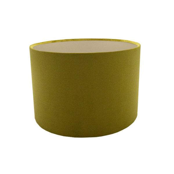 Voyage Mustard Yellow Velvet Drum Lampshade Champagne Inner