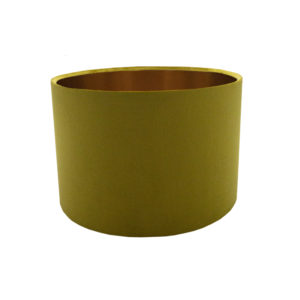 Voyage Mustard Yellow Velvet Drum Lampshade Brushed Copper Inner