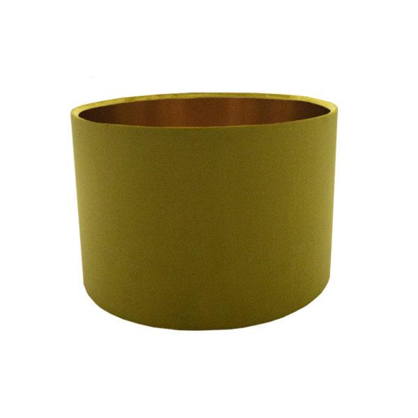 Voyage Mustard Yellow Velvet Drum Lampshade Brushed Copper Inner