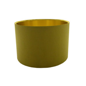 Voyage Mustard Yellow Velvet Drum Lampshade Brushed Gold Inner
