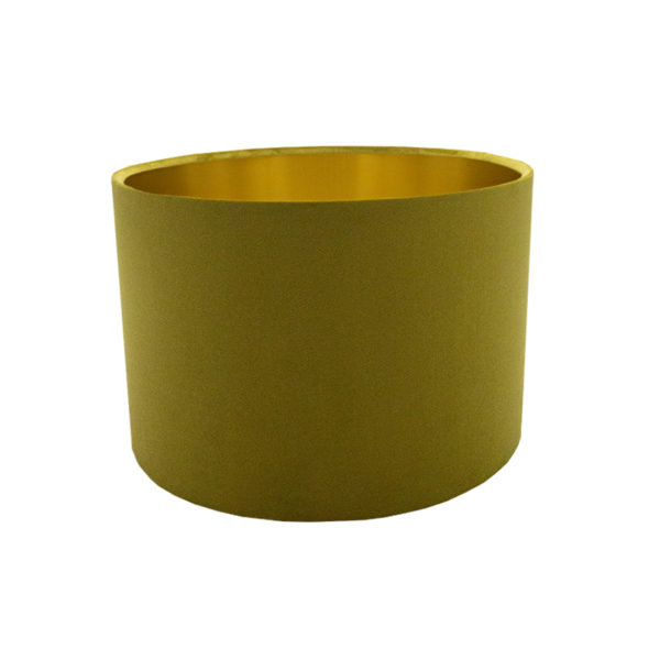 Voyage Mustard Yellow Velvet Drum Lampshade Brushed Gold Inner