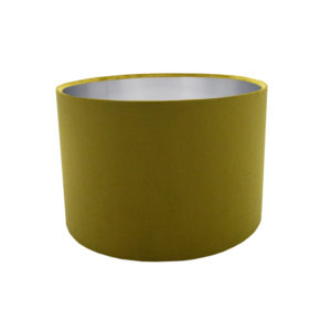 Voyage Mustard Yellow Velvet Drum Lampshade Brushed Silver Inner
