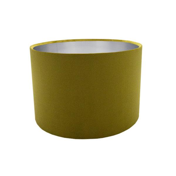 Voyage Mustard Yellow Velvet Drum Lampshade Brushed Silver Inner