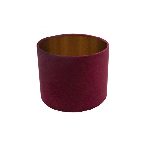 Voyage Red Velvet Drum Lampshade Brushed Copper Inner