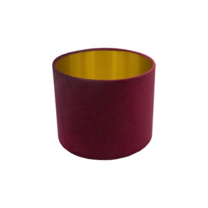 Voyage Red Velvet Drum Lampshade Brushed Gold Inner