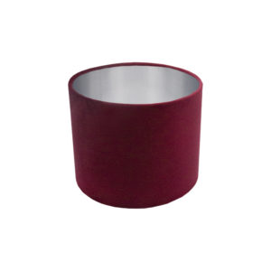 Voyage Red Velvet Drum Lampshade Brushed Silver Inner