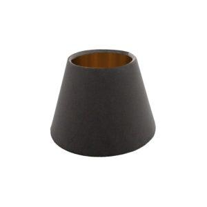 Slate Grey Velvet Empire Lampshade Brushed Copper Inner
