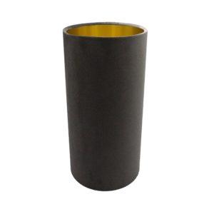 Slate Grey Velvet Tall Drum Lampshade Brushed Gold Inner