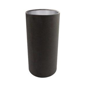 Slate Grey Velvet Tall Drum Lampshade Brushed Silver Inner