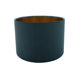 Voyage Teal Velvet Drum Lampshade Brushed Copper Inner