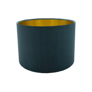 Voyage Teal Velvet Drum Lampshade Brushed Gold Inner