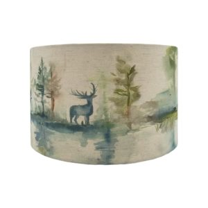 Voyage Wilderness Topaz Green Stag Drum Lampshade