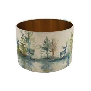 Voyage Wilderness Topaz Stag Drum Lampshade Brushed Copper Inner