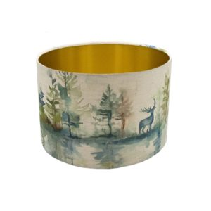 Voyage Wilderness Topaz Stag Drum Lampshade Brushed Gold Inner