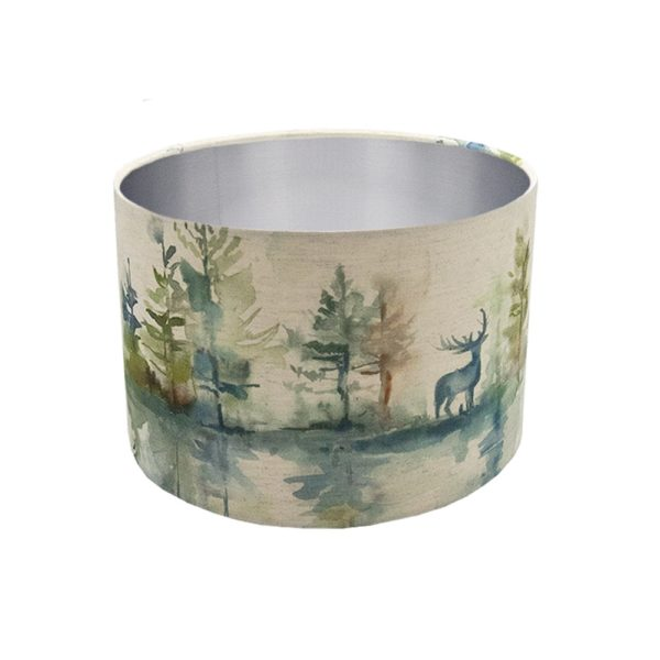 Voyage Wilderness Topaz Stag Drum Lampshade Brushed Silver Inner