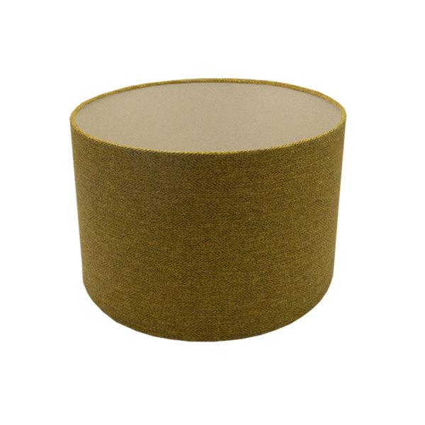 Mustard Yellow Herringbone Drum Lampshade Champagne Inner