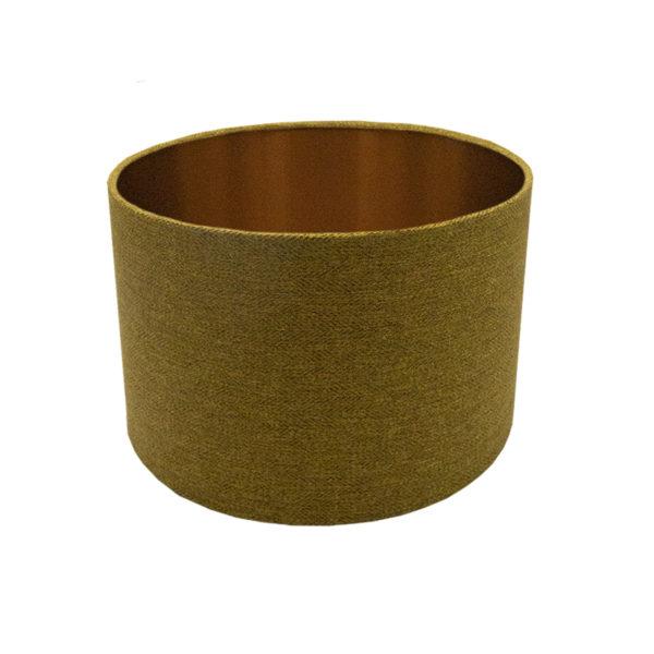 Mustard Yellow Herringbone Drum Lampshade Brushed Copper Inner