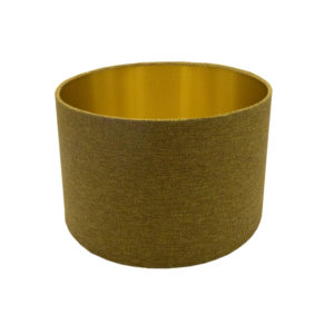 Mustard Yellow Herringbone Drum Lampshade Brushed Gold Inner