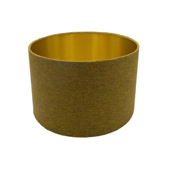Mustard Yellow Herringbone Drum Lampshade Brushed Gold Inner