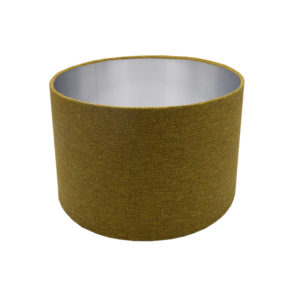 Mustard Yellow Herringbone Drum Lampshade Brushed Silver Inner