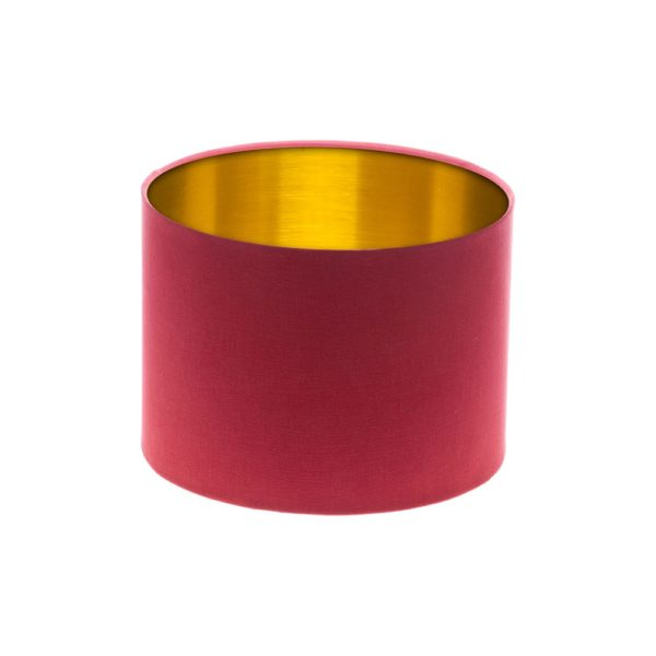 Raspberry Red Drum Lampshade Gold Inner