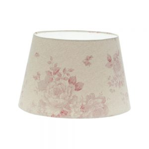 Red Faded Rose Floral French Drum Lampshade
