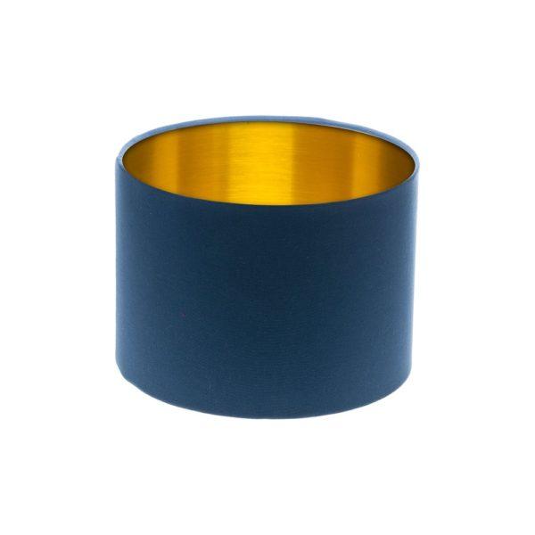 Regal Blue Drum Lampshade Gold Inner