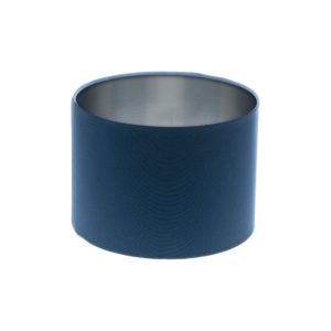 Regal Blue Drum Lampshade Silver Inner