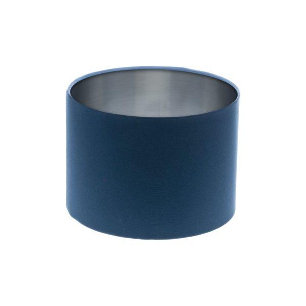 Regal Blue Drum Lampshade Silver Inner