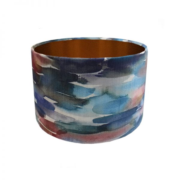 Voyage Azima Cobalt Velvet Drum Lampshade