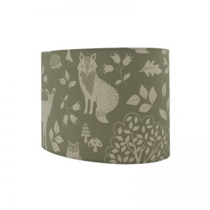 Green Woodland Animals Oval Lampshade