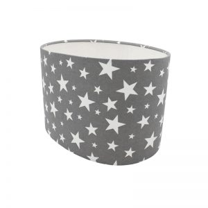 Grey Stars Oval Lampshade