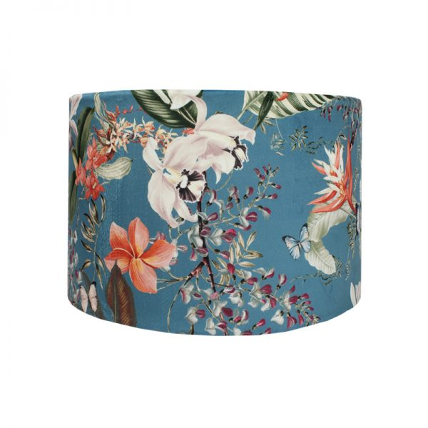 Tropical Floral Blue Velvet Drum Lampshade