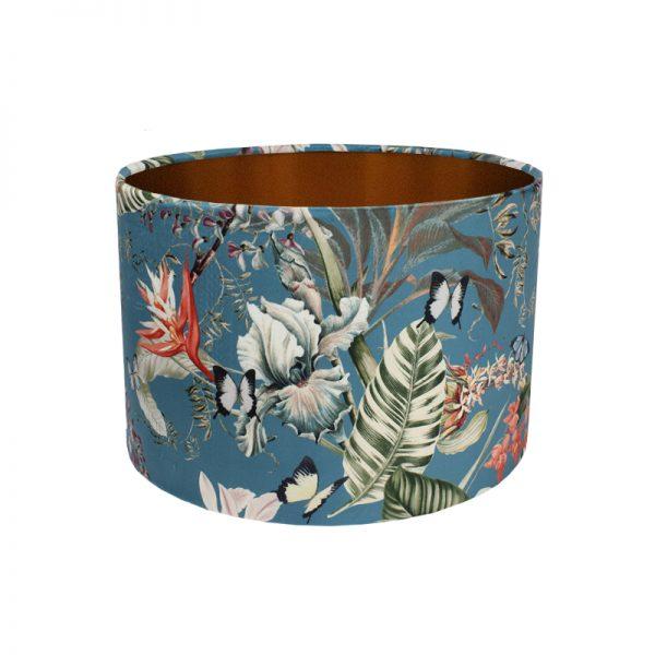 Tropical Floral Blue Velvet Drum Lampshade