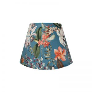 Tropical Floral Blue Velvet Empire Lampshade