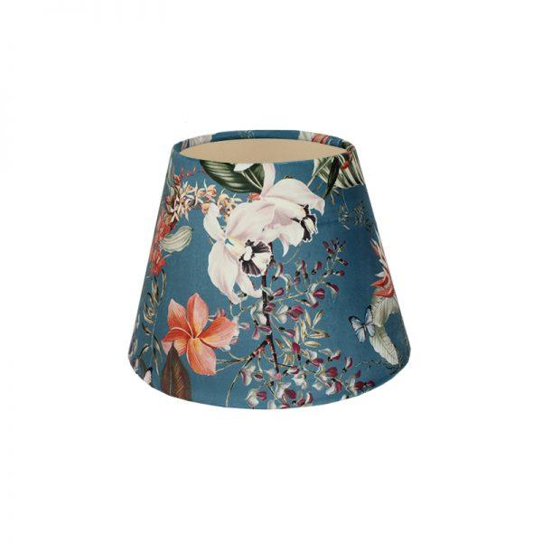 Tropical Floral Blue Velvet Empire Lampshade