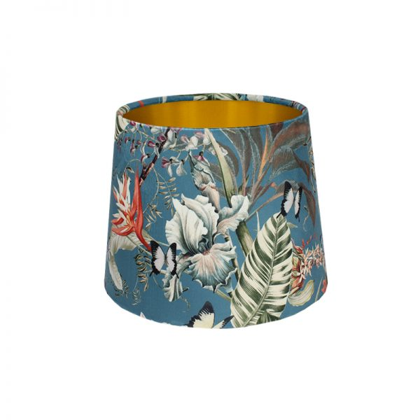 Tropical Floral Blue Velvet French Drum Lampshade