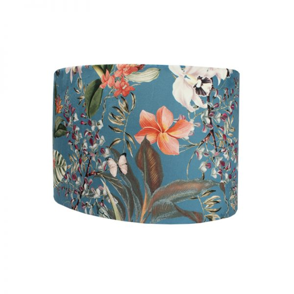 Tropical Floral Blue Velvet Oval Lampshade