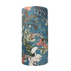 Tropical Floral Blue Velvet Tall Drum Lampshade