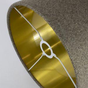 Beige Herringbone Drum Lampshade Gold Inner