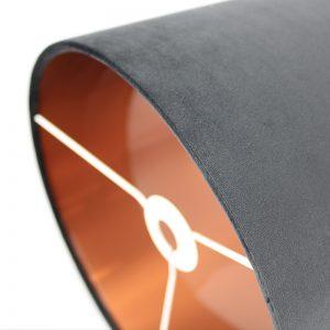 Black Velvet Drum Lampshade Copper Inner