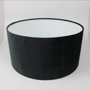 Black Velvet Drum Lampshade White Inner